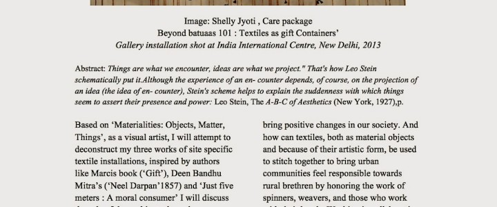 'Installation art : Objects, Things and Symbolism' Paper presentation for International conference at Dehradoon University
